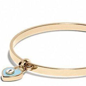 NWT Coach Aqua Heart Padlock Gold Bangle Bracelet